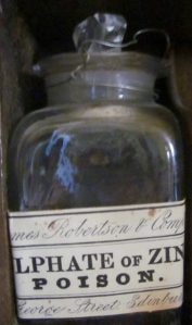 bottle in a medicine cabinet, The Georgian House, Edinburgh