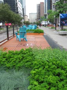 summer chairs along ave McGill College, Montreal