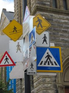 Montreal road signs - pedestrians