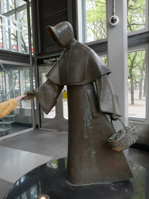 Émilie-Gamelin - bronze statue by Raoul Hunter at Berri-UQAM Metro